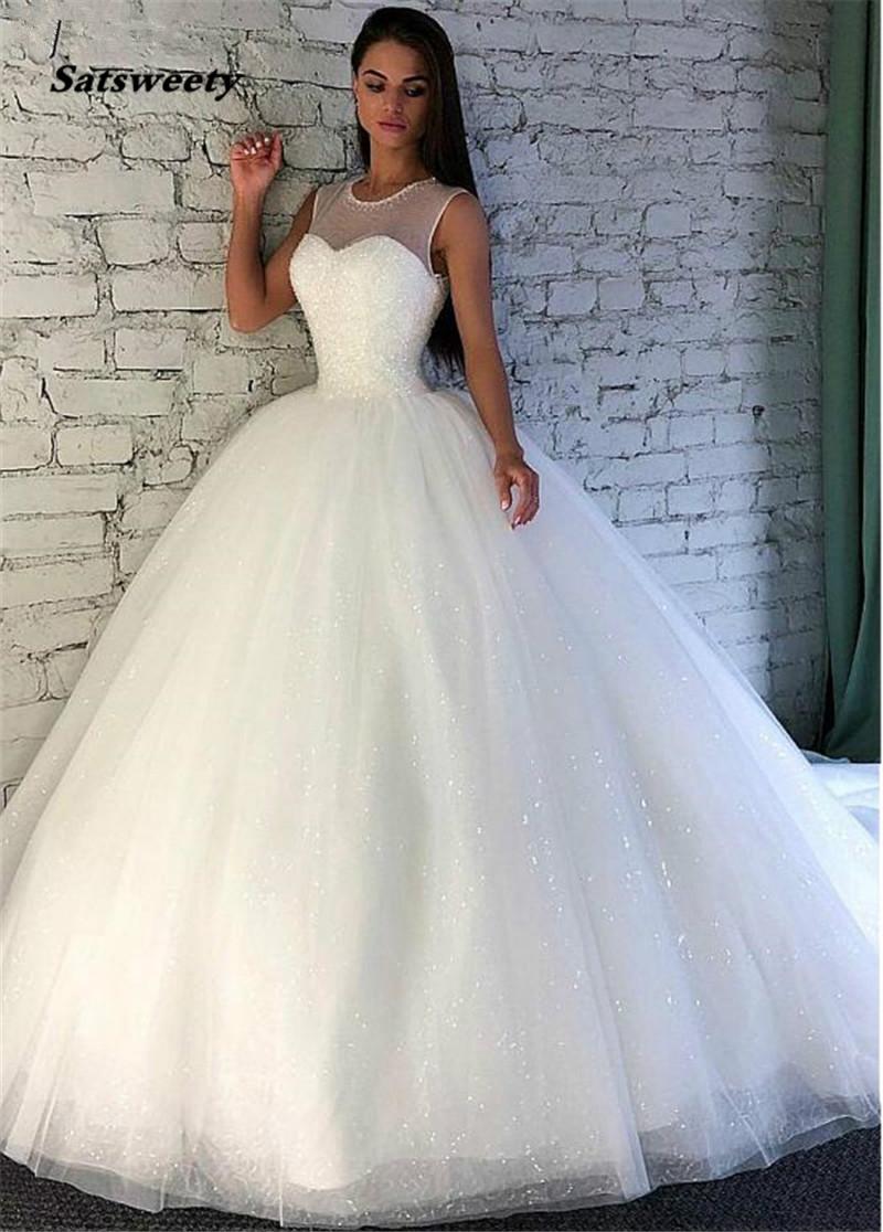 Luminoso lentejuelas tul joya cuello de bola vestido de novia con Listones Sleevelss Vestidos de novia Vestido de Fiesta Longo