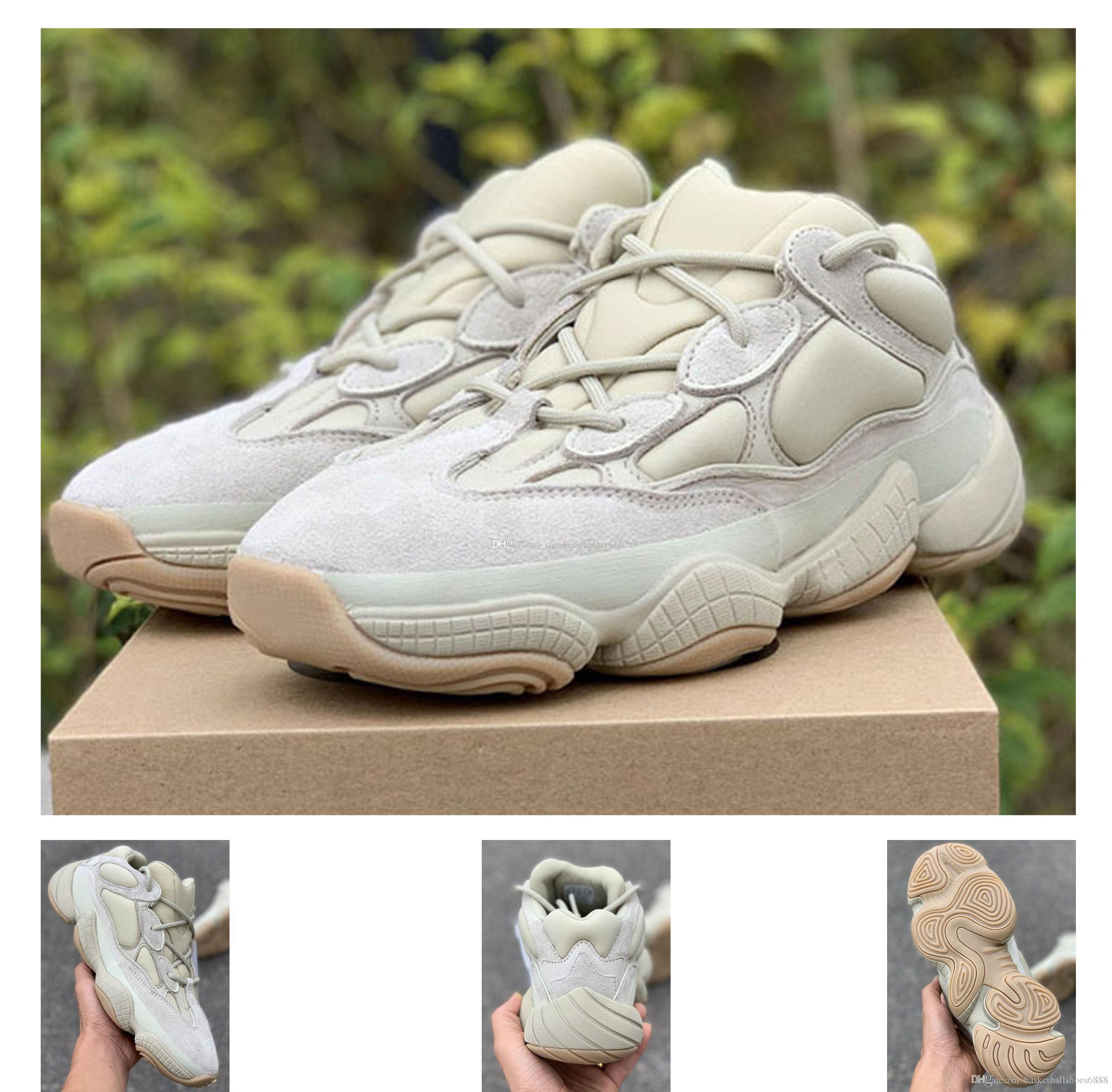 Нового высокого качество Kanye West Bone White Desert RAT 500 Топ случайной обуви Мужчины Женщина 500 Камень обуви с Box Size36-46