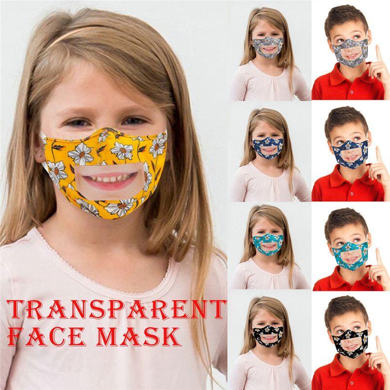Enfants lèvres Langue Masque Imprimé PET clair anti-poussière Deaf Mute Bouche couverture Masques Enfants visible Masque extérieur T1I2171 50pcs