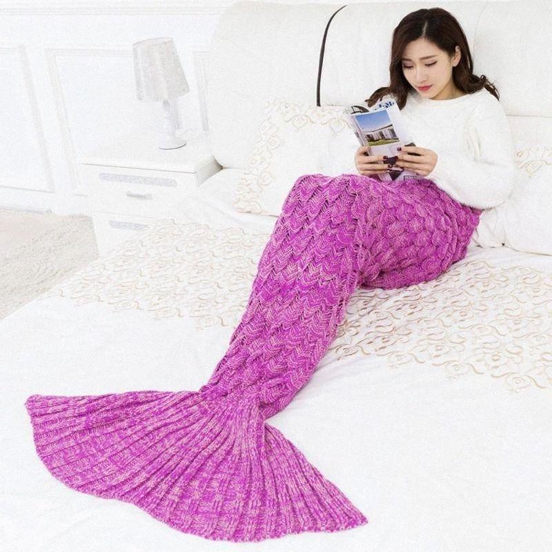 9 Colors Mermaid Blanket Handmade Knitted Sleeping Wrap TV Sofa Tail Blanket Kids Adult Baby crocheted bag Bedding Throws bag XE9Q#