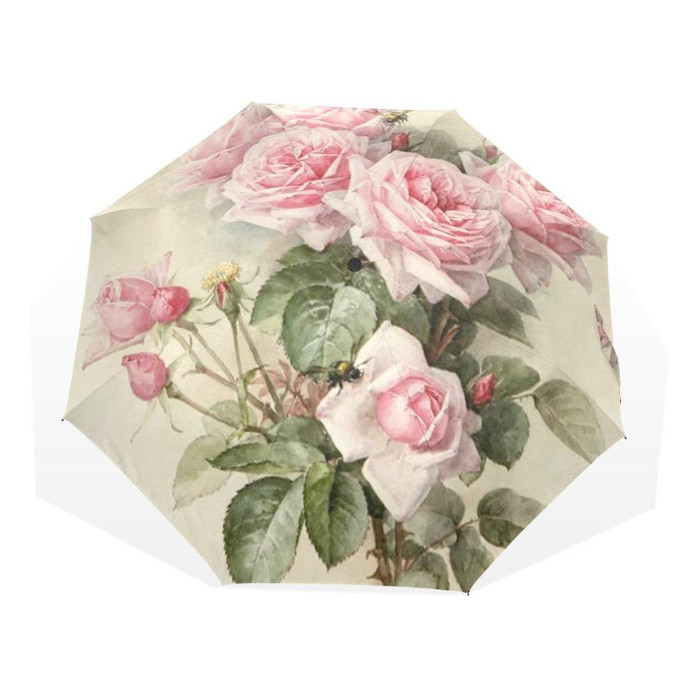 Chica floral lamentable de la vendimia de las mujeres paraguas de la lluvia rosada elegante Rose Tres plegable portable durable Paraguas automático por lluvia engranaje T200117