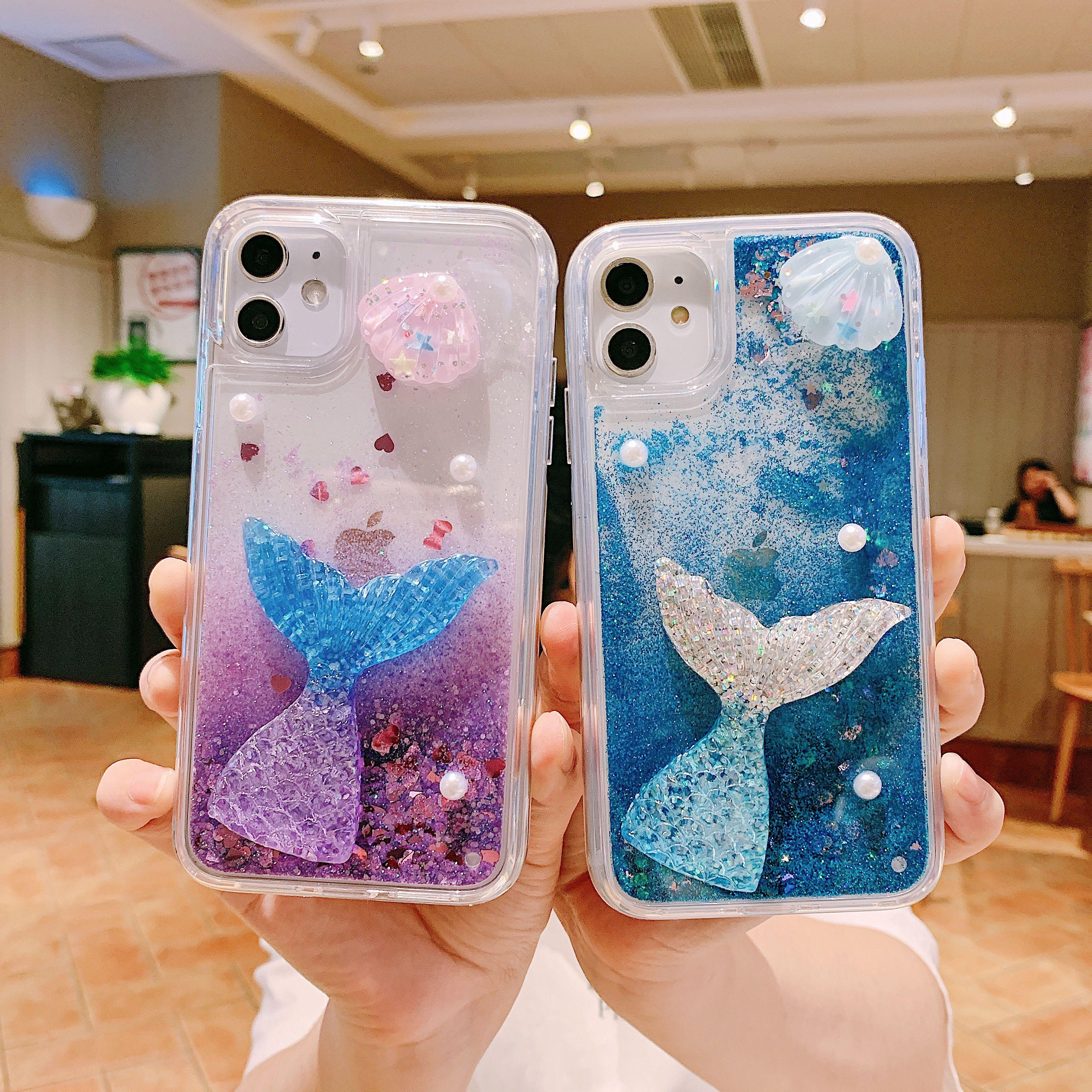 Glitter Bling Mermaid Flüssiges Treibsand-Telefon-Kasten für iPhone 11 Pro Max XS Max XR X 8 7 6s 6 Plus Seestern Abdeckung
