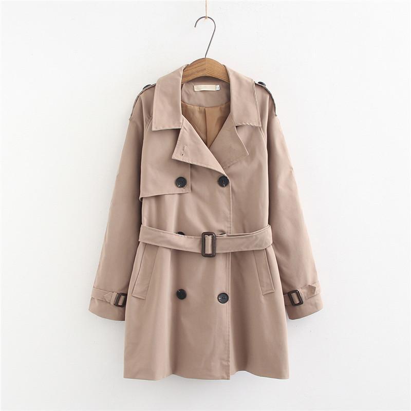 Escudo foso breasted doble capa WSYORE Fosa de las mujeres de gran tamaño medio-largo 2020 Breve Nueva Primavera rompevientos medio-largo Coats NS981