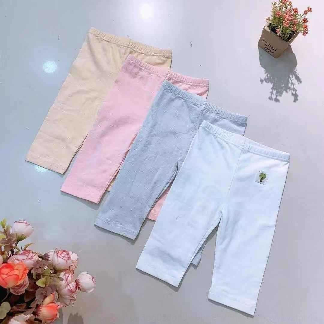 moimoi2019 Korean spring and summer new clothing for boys children's Children's and girls Capri pants organic cotton solid color