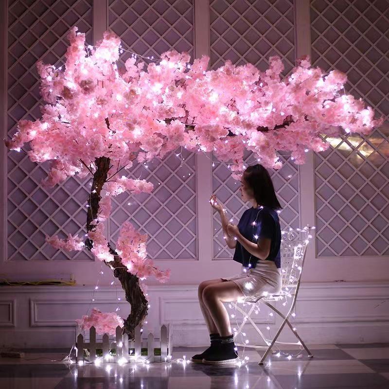 Ev Dekor düğün Arch için 100cm İpek çiçekler Uzun Şeftali Sakura Yapay çiçek Pembe Düğün Dekorasyon Kiraz çiçeği dalı
