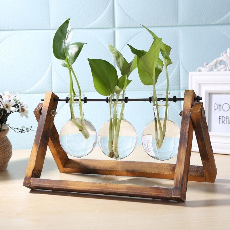 Terrário vegetais hidropônicos Vasos transparente vaso de flor vaso de flores de madeira está Tabletop vasos para flores Início Bonsai Decor