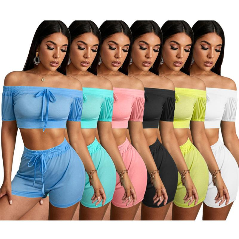 Women Summer Solid Color Drawstring strapless Shorts 2 piece set outfits S-2XL crop Tops jogger suits fashion casual sportswear 3243