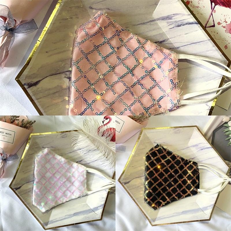 Hanging oreille type Masque anti-poussière Mode Lady Bouche Protection Respiratoire réutilisable Mascarilla Man Lattice Sequin Lace 5 2hs B2