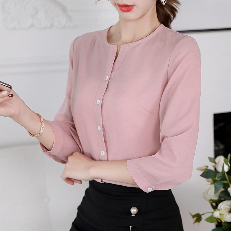 7H8D1 mousseline de soie 2020 chemise minceur printemps / été Nouveau slim fit tout-match de style coréen Diana chemise mode casual couleur unie