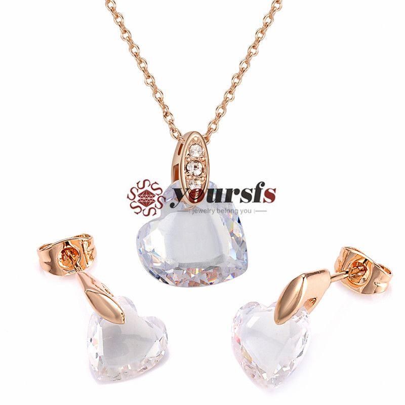 Yoursfs 18 K Gül Altın Kaplama Büyüleyici Sevgi dolu Kristal Kolye Ve Küpe Takı Kullanımı Avusturyalı Kristal Gelin Setleri