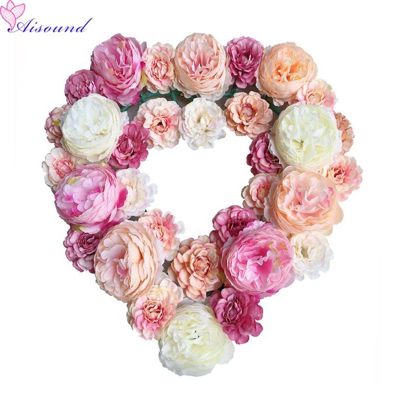 Düğün Arka Plan Çiçek Paneli İçin Parti Festivali T200716 için Aisound Yapay İpek Çiçekler Duvar AŞK Çiçek Düzenleme