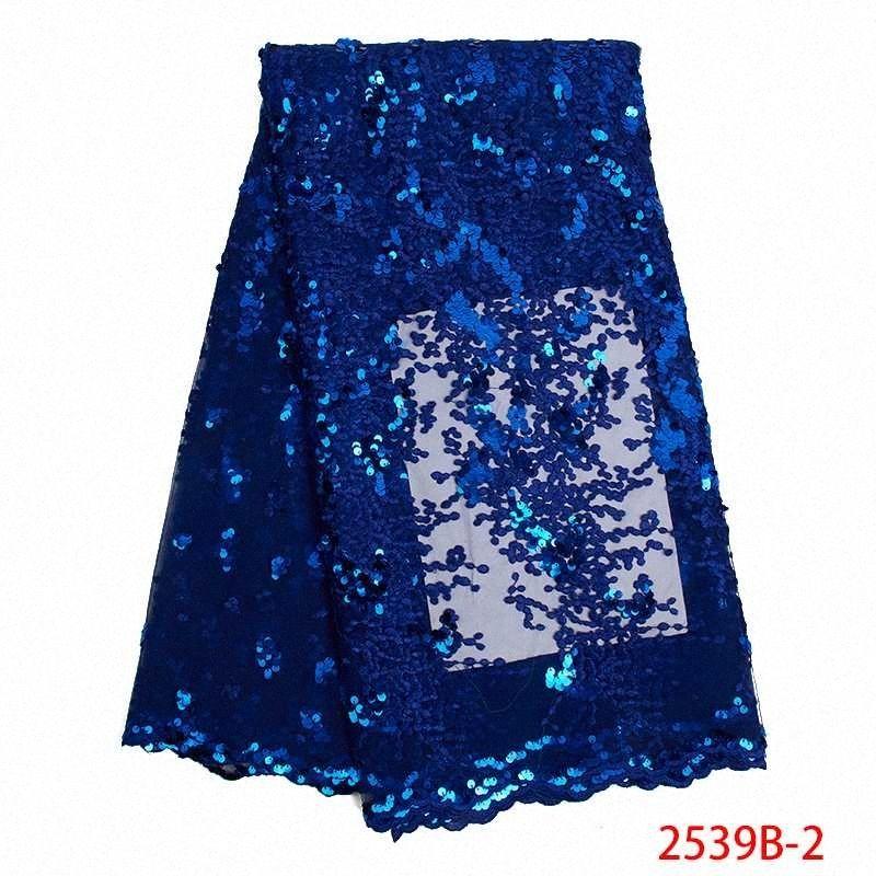 Venda quente Africano Lace tecido de alta qualidade francesa Tulle Lace Bordados com lantejoulas nigeriano Net Laces Tecidos KS2539B 2 Impresso Ribbo vphJ #
