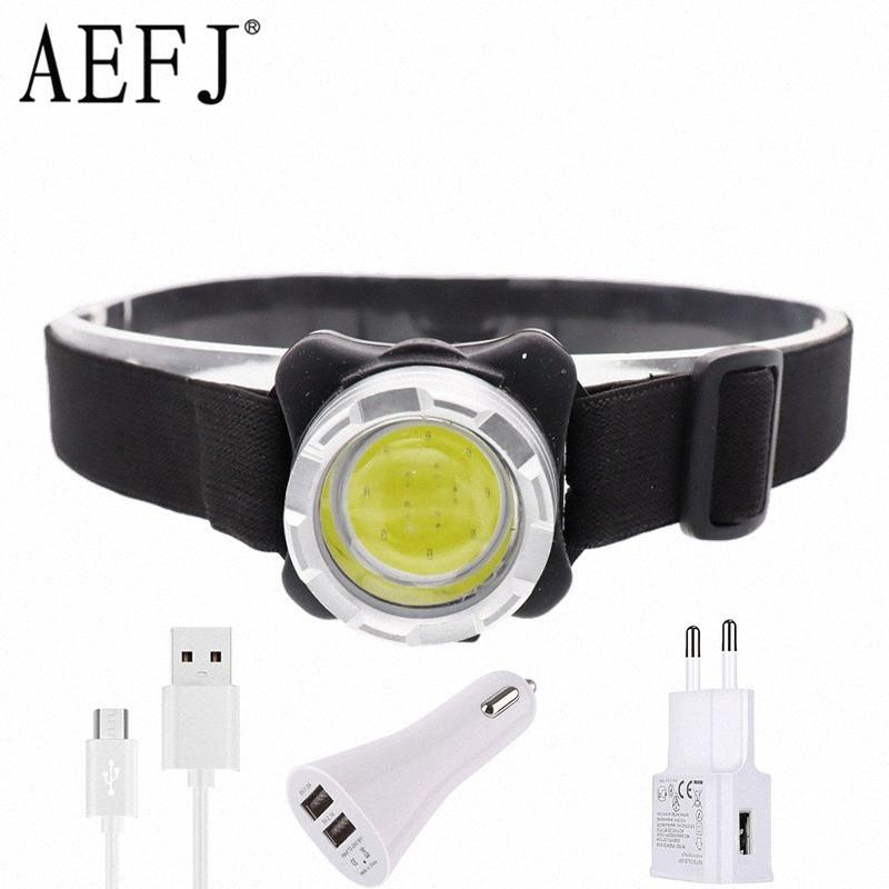 COB LED Headlamp USB Rechargeable Headlight Waterproof Head Lamp White Red Lighting With Built In Battery Rwti#