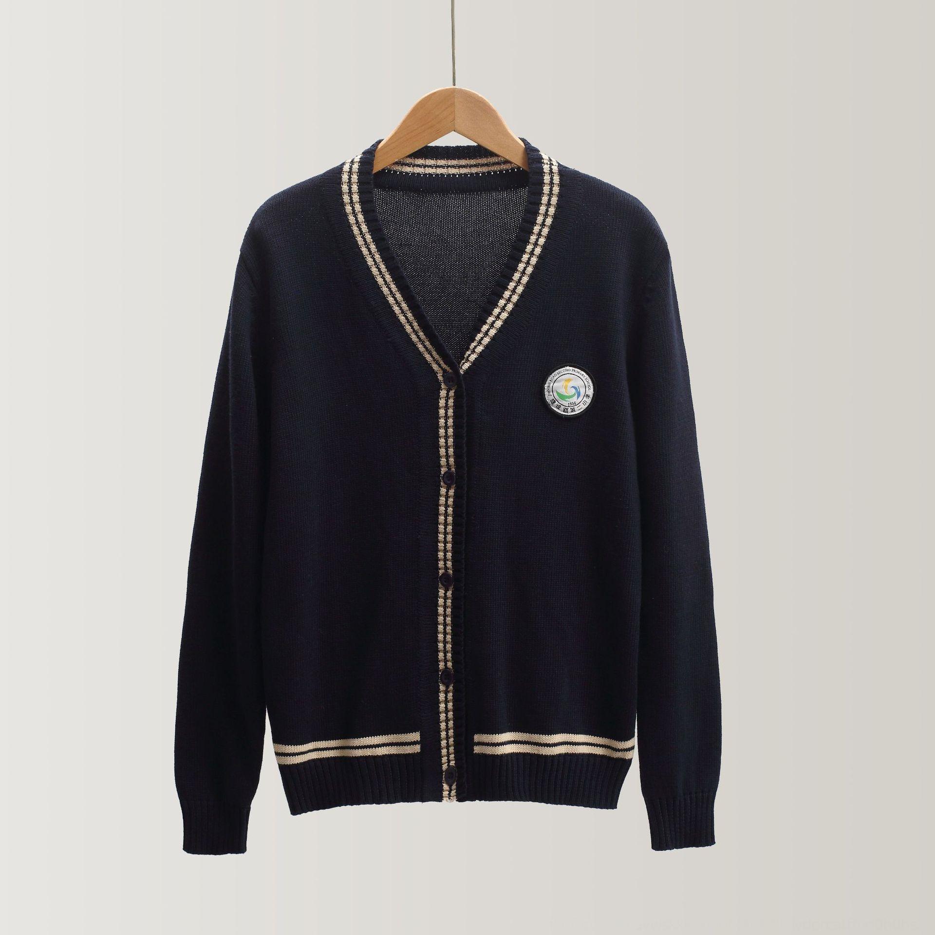 QZq5J capa fina chaqueta de punto de manga larga alumnos masculinos y femeninos con cuello en V jersey de algodón uniforme suéter ropa niños de la capa de los niños de la escuela