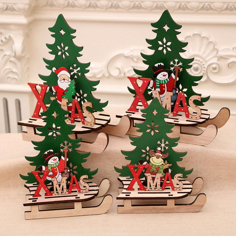 Christmas Creative Painting Wood Assembly DIY Sleigh Car With Part Of Splicing Board 2019 Christmas Wooden Gift For Kids Gift d5wT#