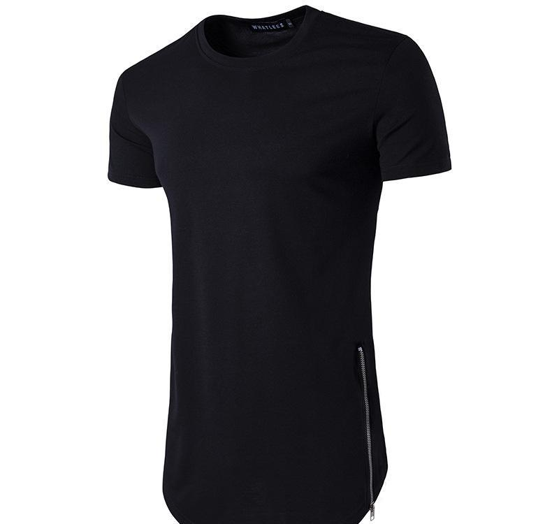 Nuove tendenze uomini magliette Super palangaro maniche lunghe T-shirt Hip Hop Arc orlo con la curva del bordo laterale Zip Tee Tops