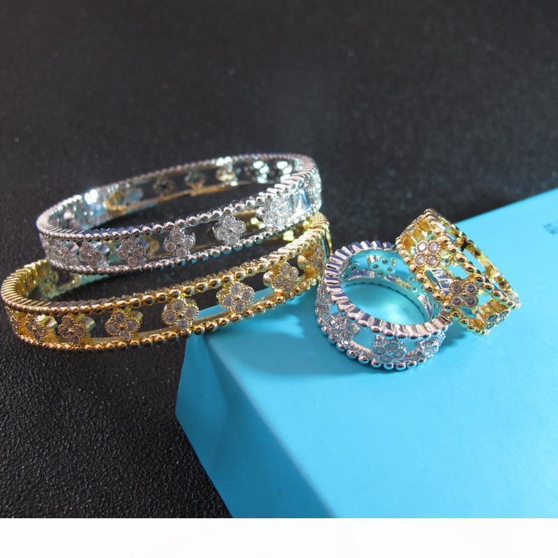 all'ingrosso diamanti zircone cavità fuori fiore braccialetto ed anelli set di gioielli per le donne