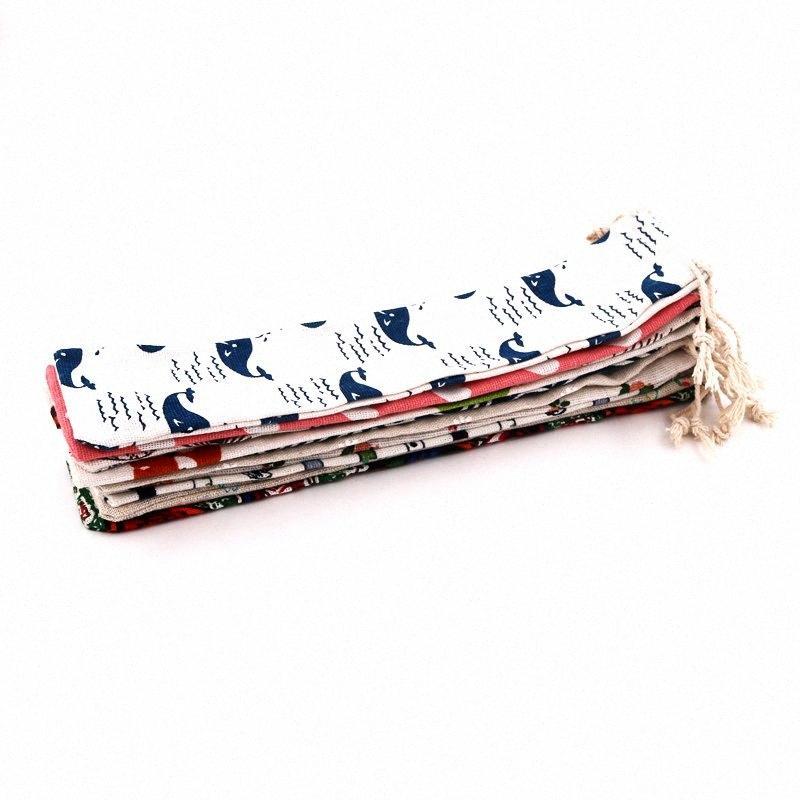 10pcs / lote aleatório de várias cores Algodão Linho Bolsas 6x27cm Para Handmade Exquisite Chopsticks Spoons Louça Embalagem com cordão Bolsa R1Kn #