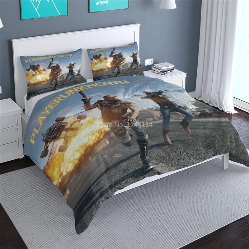 3D Песочница Игры пододеяльник Set Playerunknown в Battlegrounds Комплект постельных принадлежностей Постельное белье Постельное белье Твин Полный Queen King Size