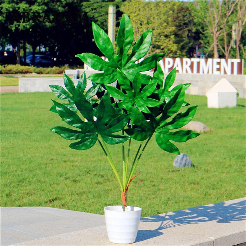80cm 7fork Büyük Sonbahar Ev Dekorasyonu için Yapay Tropik Ağaç Sahte Plastik Fabrikası Şube Big Green Palm Tree Monstera Yeşillik