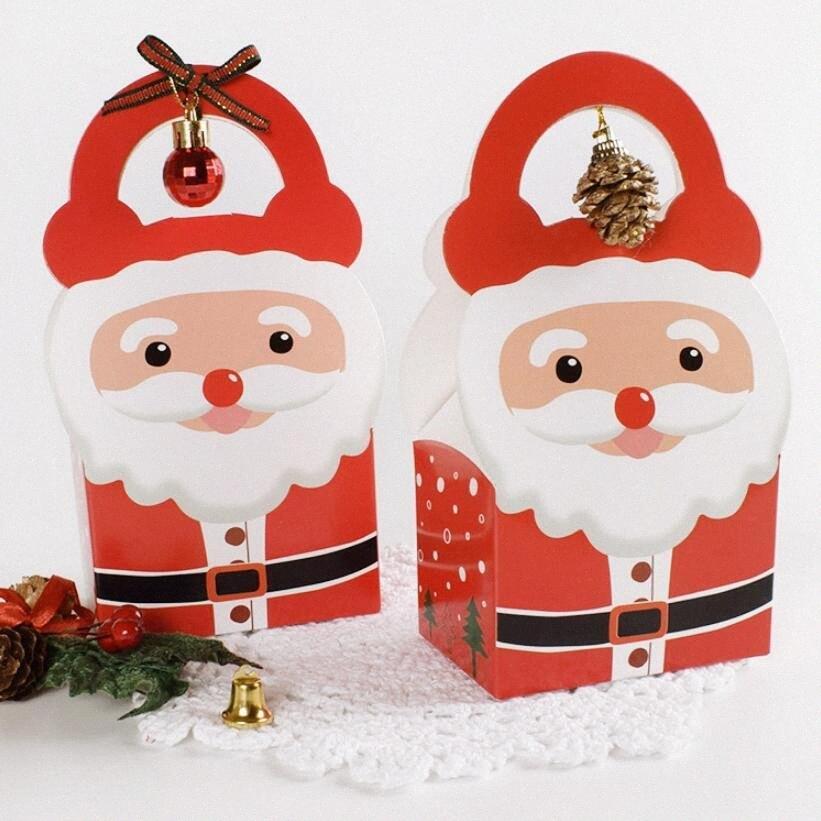 decoraciones de Navidad para el hogar Nochebuena regalo caja de embalaje del punto del embalaje del regalo de Papá Noel del bolso del bolso con asas 20pc RMU #