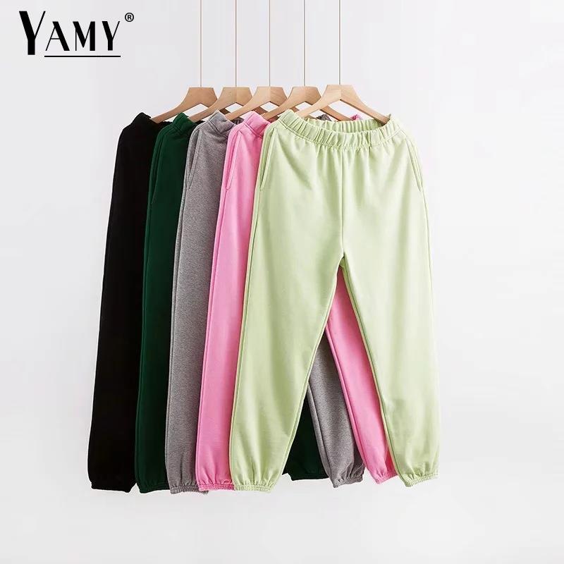Preto corredores casuais mulheres carga calças de cintura alta das mulheres corredores sweatpants coreano calças com bolsos corredores do sexo feminino mujer T200727