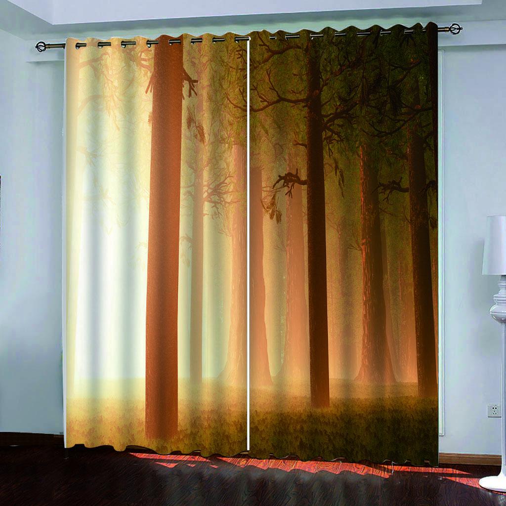 Temprano por la mañana maderas lujo 3D del apagón de la ventana Cortinas amplio, para estar Sala Dormitorio decoración cortina de la oficina en casa