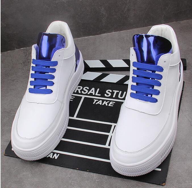 Homens brancos moda sapatilhas casuais respirável Hip-hop plana altura sapatos de tabuleiro Aumentar zapatillas hombre
