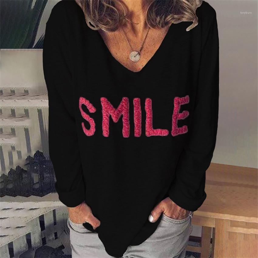 V Long Neck luva frouxo Ladies Tops Casual Sólidos Mulher Cor T Bordados Verão Mulheres T-shirts letras impressas