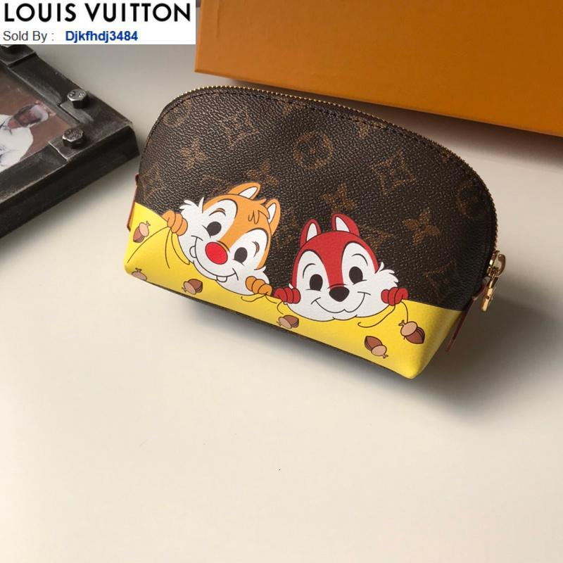 Q7Q2 M47515 Silk screen cosmetic bag WOMEN REAL LEATHER Long Wallets Chain Wallet Pouches Key Card Holders Phone Cases PURSE CLUTCHES