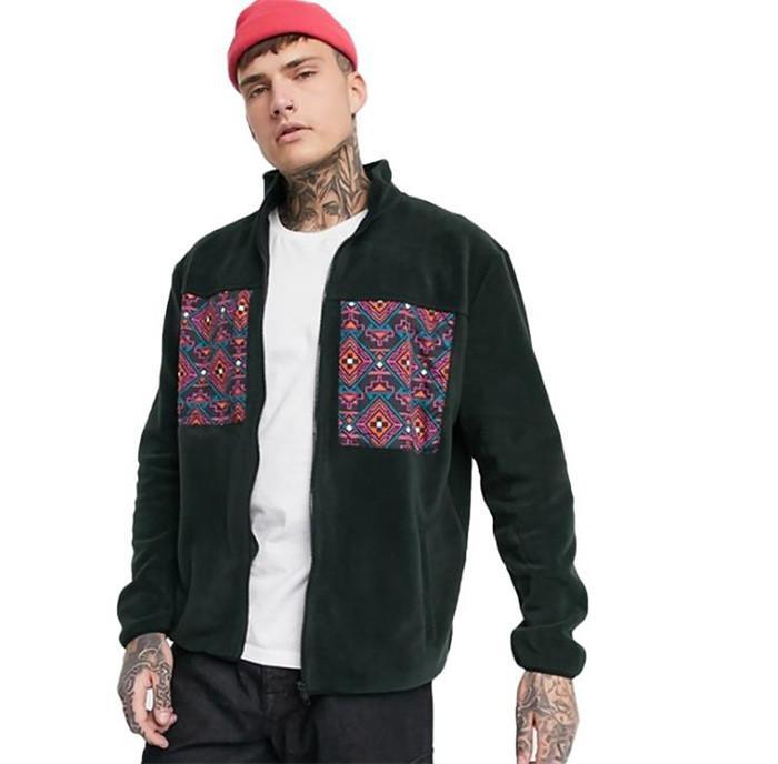 Hombre Vintage étnico chaquetas de hiphop hombre otoño invierno cremallera mosca suelta abrigos cortos hombres calle alta calle ropa exterior