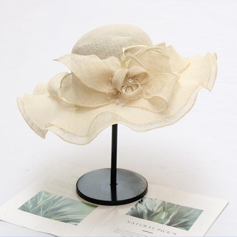 New Floral Hat Women Kentucky Derby Wide Brim Sun Hat Wedding Church Sea Beach Hats for Women Floppy Ladies Hat H3 Y200716