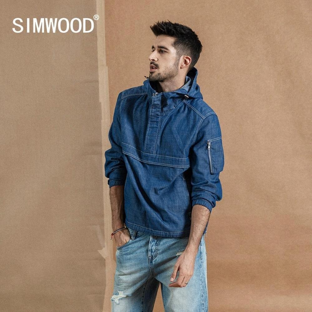 Simwood 2019 outono novo meia zip pulôver jaqueta masculina moda moda hoodie denim como casacos com capuz jaquetas de alta qualidade 190357 km7p #