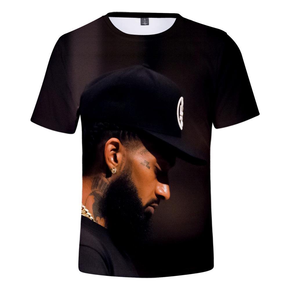 Nipsey koşuşturmasından Yaz Erkek Artı boyutu tişörtleri 3D Dijital Baskılı Kısa Sleeve Rapçi Erkek O-Boyun Tshirts Gençler Tasarımcı Giyim
