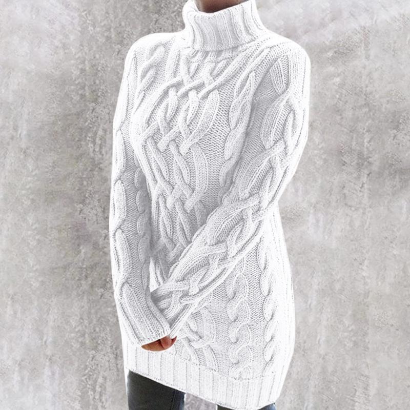 Frauen-Herbst-Winter-Strickjacke 2020 Volltonfarbe Thick Zwei Lapels Pullover Pullover Retro Langarm-Tropfen