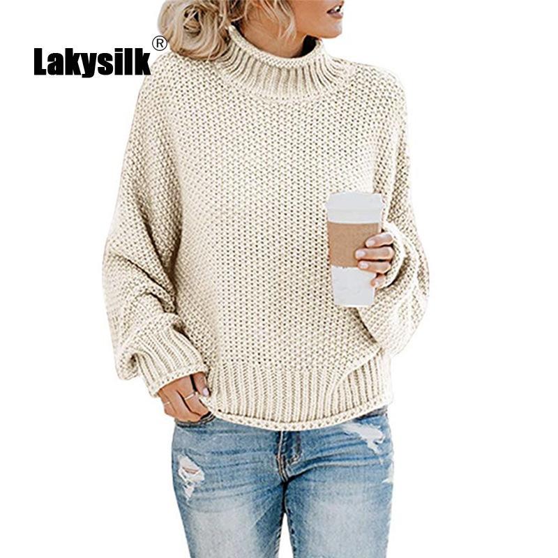 Casual de punto suéteres de las mujeres 2020 otoño invierno caliente grueso suéter de cuello alto de las señoras de la manga completa Solid suéteres flojos