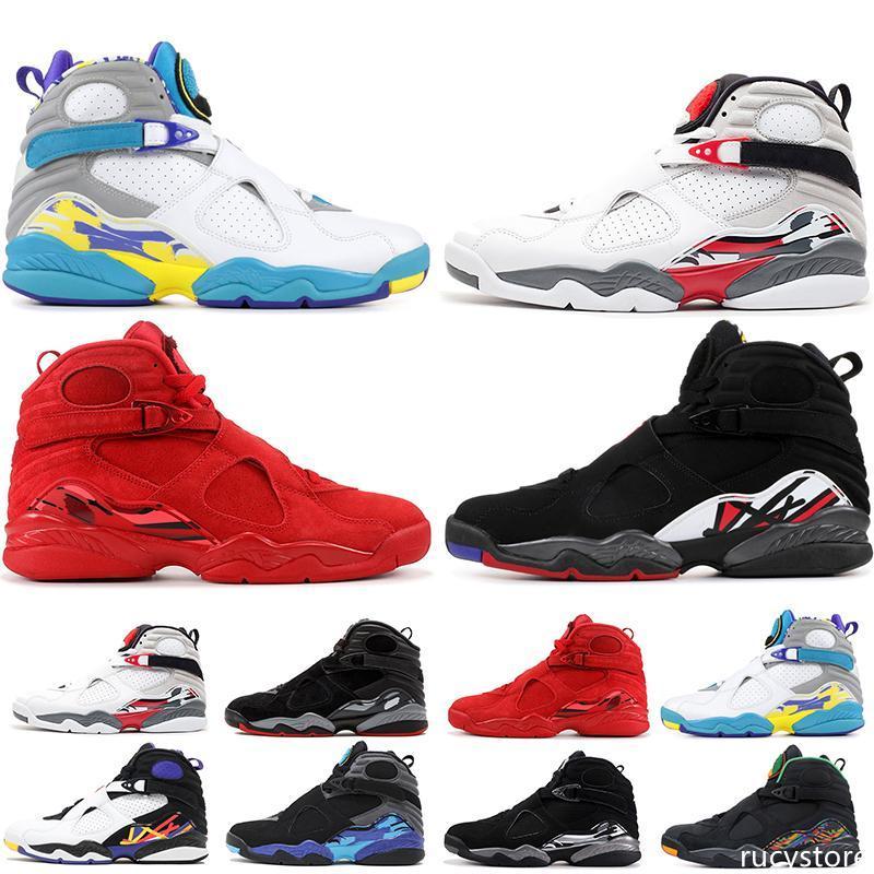 Jumpman Ayakkabı 8 8s Erkek Basketbol Ayakkabı Sevgililer Günü Aqua Beyaz Siyah Krom sayım Paketi 3PEAT Playoff NIK Mens Eğitici Spor Sneaker