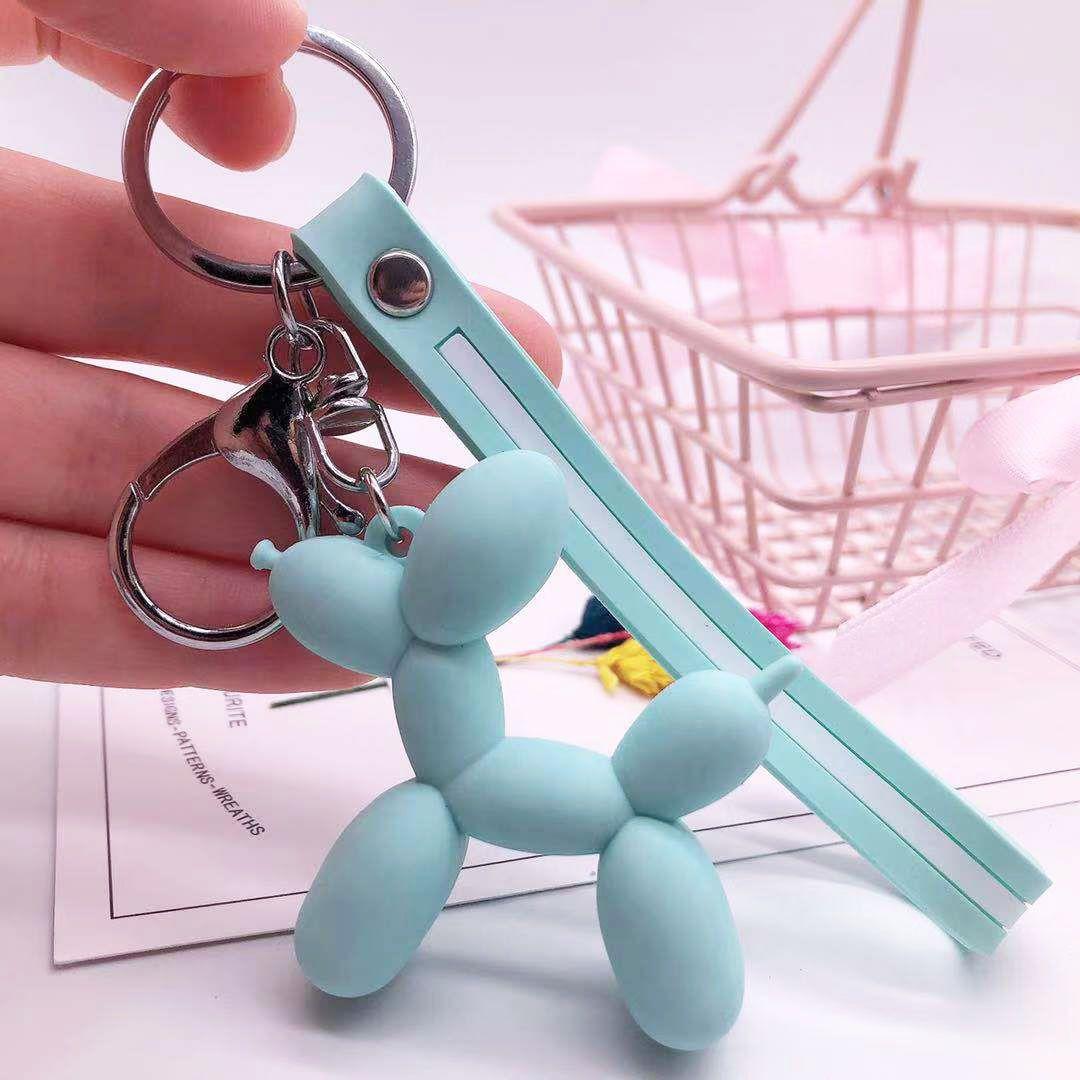 سلسلة حقيبة أزياء لطيف بالون الكلب الراتنج سلسلة المفاتيح مفتاح حلقة القطن الكرتون PU صور سيارات الهاتف قلادة مفتاح للمجوهرات النساء