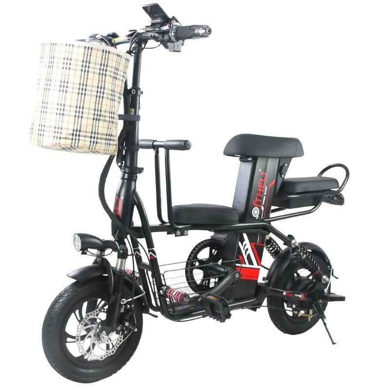 Elektro-Roller-Fahrrad mit erwachsenem / Kindersitz 2 Räder Elektro-Scooter 400W 48V Reise Elektro Fahrrad