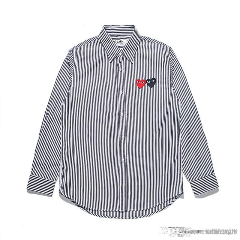 2018 Лучшее качество ПРАЗДНИК сердца Новая игра Мужчины Женщины C337-1 Синий двойное сердце нашивки футболка с длинным блузка с длинным рукавом Com Des Garcons футболка