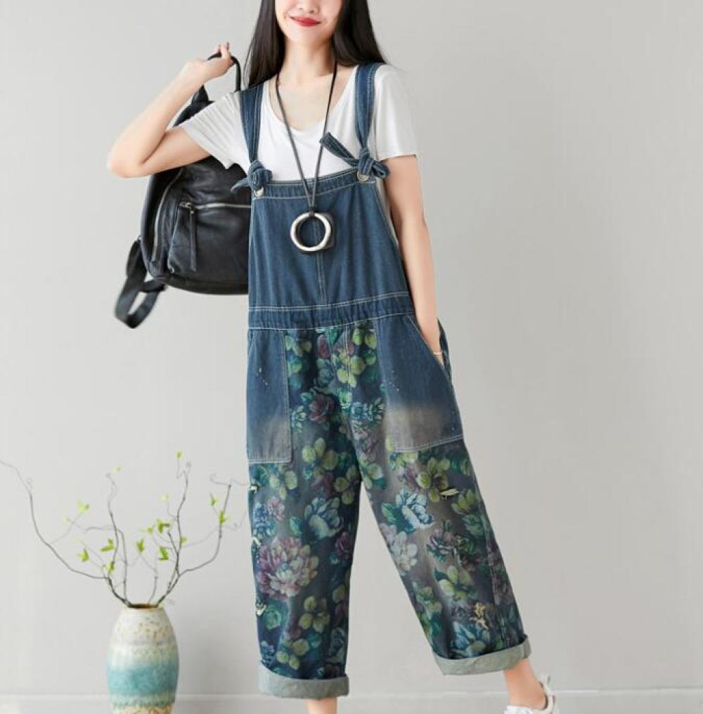 Littéraire Femmes Mode imprimé floral Denim jambe large Jumpsuit personnalisé Washed Denim Casual desserrées Pantalon