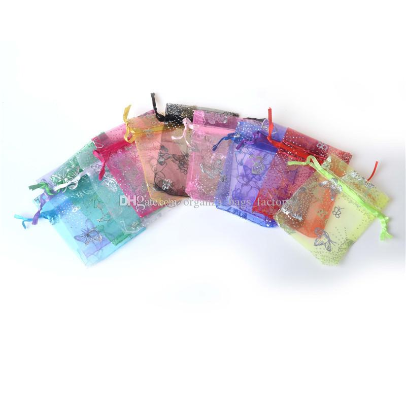 100pcs Teste padrão de prata de presente de casamento borboleta 7x9cm Organza BagsPouches Drawstring Bag Organza presente de doces DIY Gift Bags