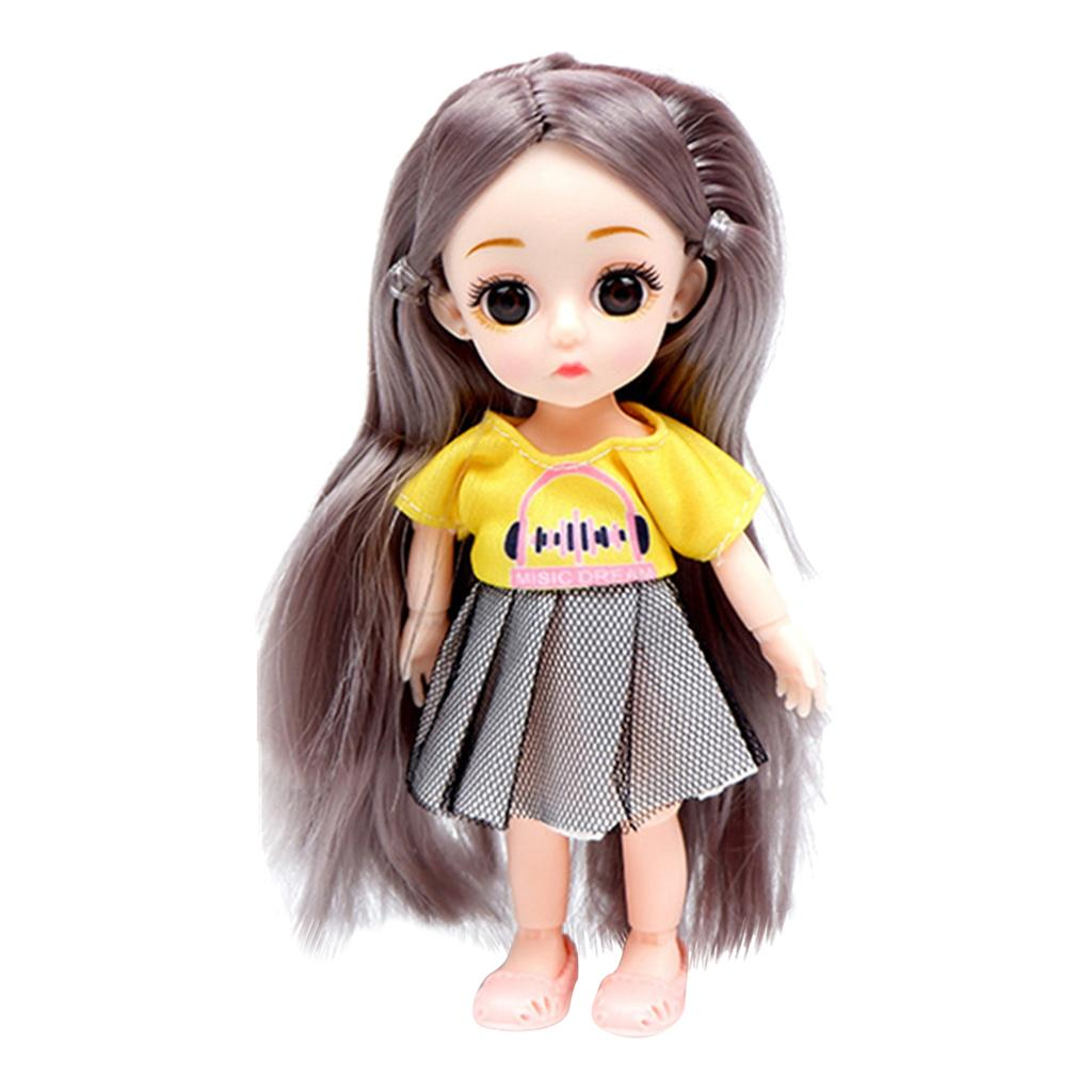 Lovely 16cm 6 Inch 1:12 BJD 13 Ball Jointed Girl Doll Big Eyes with Clothes