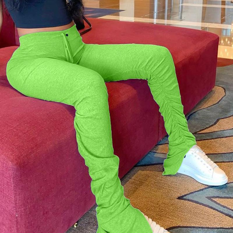 Mujeres pantalón Joggers altura de la cintura suave con pliegues becerro Campana Hem de Split polainas Bodycon pantalones pantalones casuales de la calle Trouses