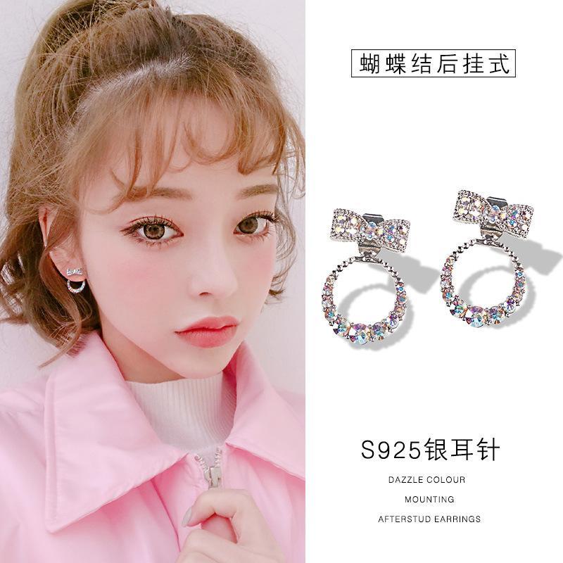 Pendientes niñas Estilo Pendientes Diamante Pin lazo de color rojo para mujer de 925 pendientes neto elegante de Corea del Todo-fósforo dulce fresca