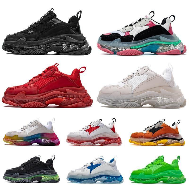 la moda de triple cristal s Bottoms para mujer para hombre de los zapatos ocasionales de París 17FW diseñador zapatillas de deporte de la vendimia papá plataforma de las mujeres 2020 nuevos formadores de lujo