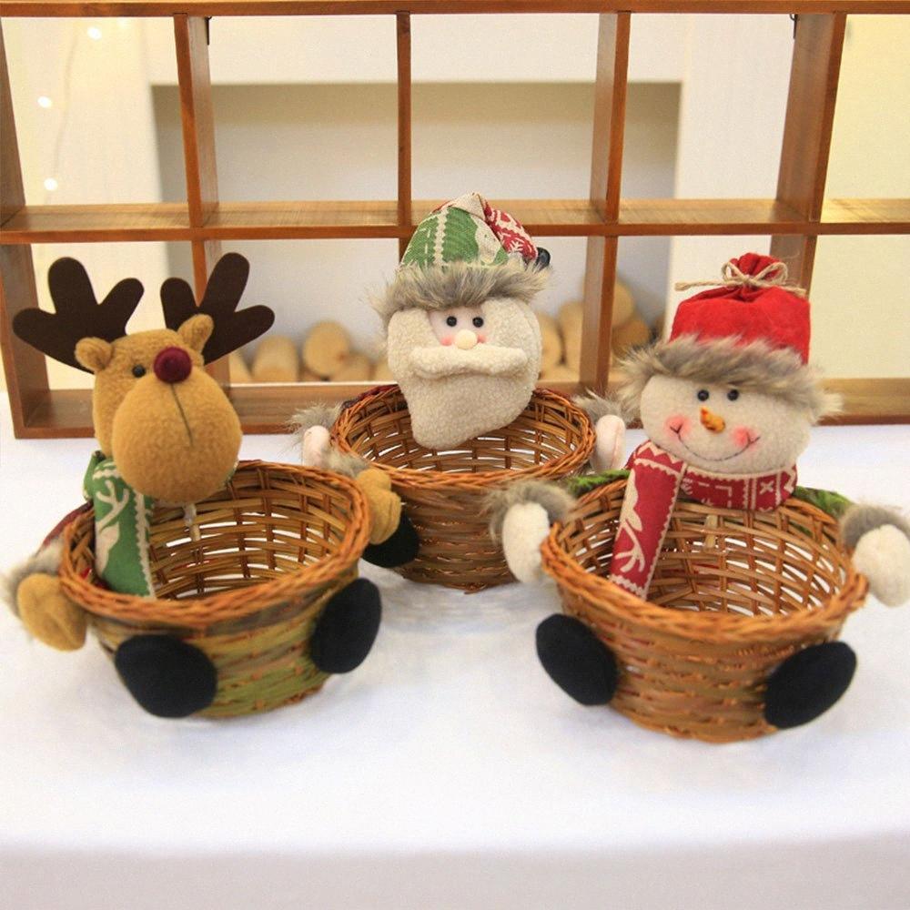 Decorazione del rifornimento del partito titolare bagagli 19x19cm Babbo Natale caramelle cesto regalo di Natale del pupazzo di neve di bambù Xmas Ornament Decor IeVR #