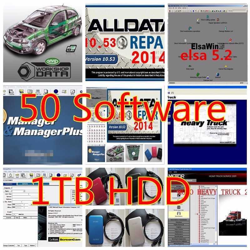 alldata v10.53 tous les logiciels de réparation automatique de données avec Michell 5 logiciels 2020 1TB hdd ajustement qinxp / 7/8 de données de réparation automobile 50