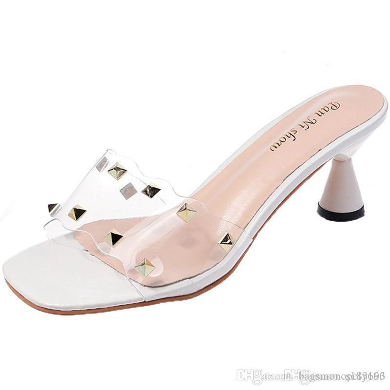 scivoli progettista dei sandali di modo selvaggio Red rivetti donne party pantofole da sposa pantofola tacco alto punta aperta pattini pigri