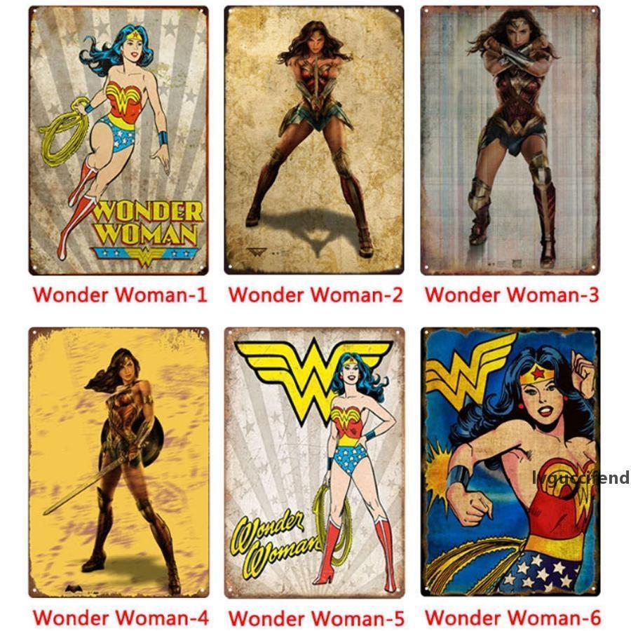 Vente en gros DC Wonder Woman Plaques en métal Peinture Tin Décoration Affiches Artisanat Fournitures Wall Art Image 20 * 30cm Bar, café, KTV décorations